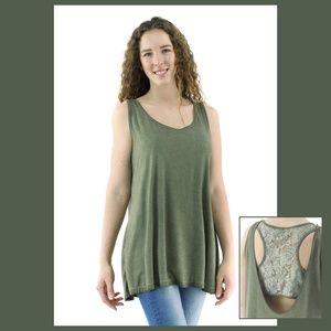 🐞 Lace Back Olive Green Tank Blouse Natural Dye